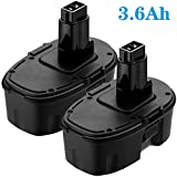 2 Pack DC9096 18 Volt 3.6Ah Battery Replacement for Dewalt 18V Battery XRP DC9096 DC9099 DC9098 DW9099 DW9096 DW9098 DW9099 DW9095 DE9039 DE9095 DE9096 DE9098 DC9181Cordless Drill Tools Batteries