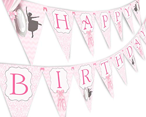 Ballet Happy Birthday Banner Pennant - Ballet Party Supplies - Ballet Party Decorations B