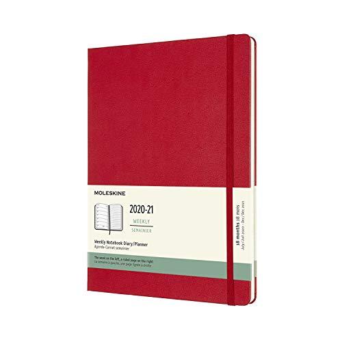 Moleskine - Agenda Settimanale 18 Mesi, Agenda Settimanale 2020/2021, Weekly Notebook con Copertina Rigida e Chiusura ad Elastico, Formato EXTRA-LARGE 19 x 25 cm, Colore Rosso Scarlatto, 208 Pagine