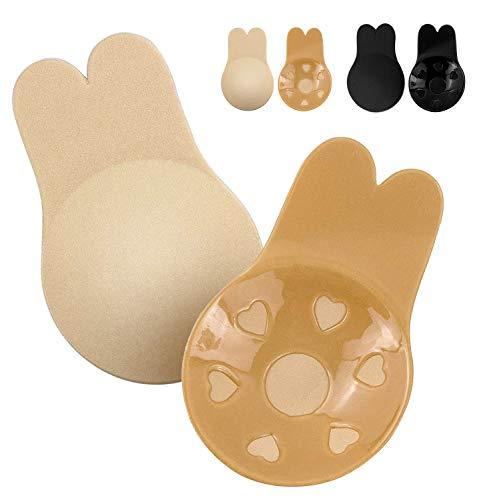 Sujetador invisible, sin espalda para mujer, sin tirantes, adhesivos, 2 pares de sujetador adhesivo invisible - Beige - X-Large