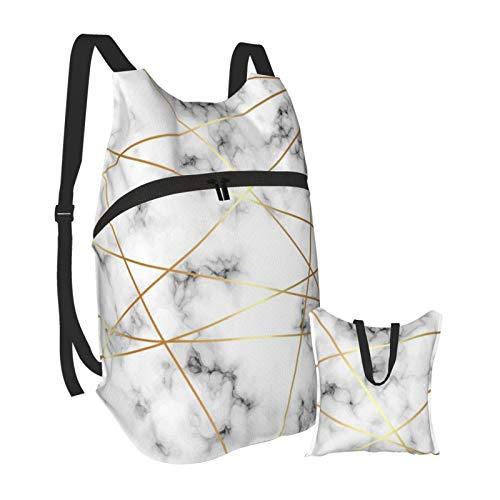 Mochila ligera de mármol blanco plegable para senderismo, bolsa impermeable para hombres y mujeres
