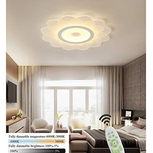 Dimmbar LED Deckenleuchte Blume-Designer Deckenlampe Modern Wohnzimmer Esszimmer Schlafzimmer Lampe 3000K-6000K Metall Acryl Lampenschirm Chic Weiß Küche Büro Landhaus Deko Licht mit Fernbedienung