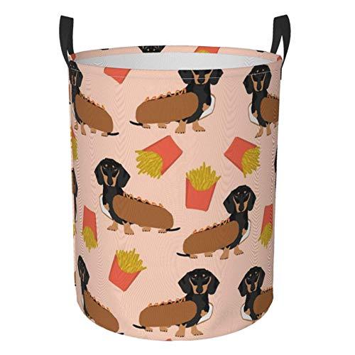 Doxie Dachshund Winer Dog Hot Dog y Papas Fritas Disfraz de Perro Canasta de lavandera Cesto Circular Bolsa de Almacenamiento de Ropa Bolsa Plegable para Ropa Juguetes