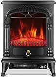 Calentador eléctrico de la estufa, calentador eléctrico de la chimenea de la estufa antigua, con termostato, llama realista y troncos Diseño vintage para el hogar y el calentador de chimenea independi