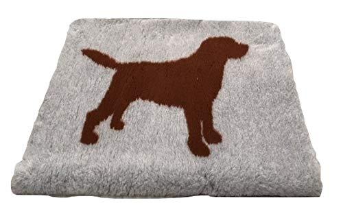 Topmast Vet Bed Hundedecke mit Labrador braun/grau Extra Soft, Doppelpack 2x150/100cm Schlafdecke,