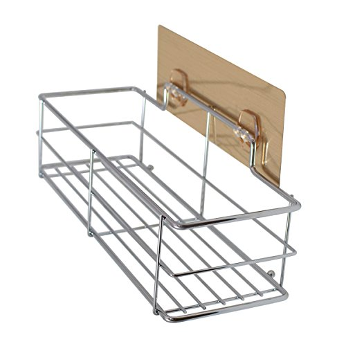 No Drill Needed| Removable| Reusable Adhesive Wall Basket| Shower Caddy Shampoo Holder| Kitche Spice Rack Organizer| Bathroom Cleaners Rack - SS Basket