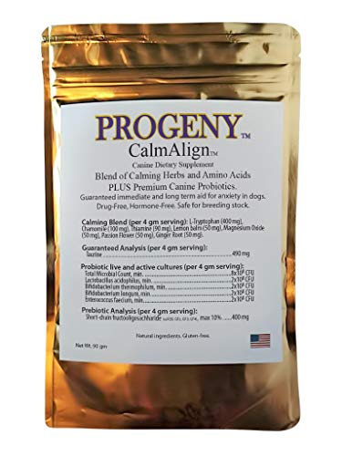 Price comparison product image Progeny CalmAlign Two-in-One Natural Calming Relaxant Plus Probiotics for Dogs. Stops The Crazy,  Guaranteed. Drug-Free,  Hormone-Free. Made in USA. 90 Grms.
