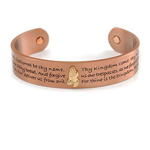 Avalaya Men Women Our Father The Lord's Prayer Engraved Copper Magnetic Cuff Bracelet - Adjustable Size