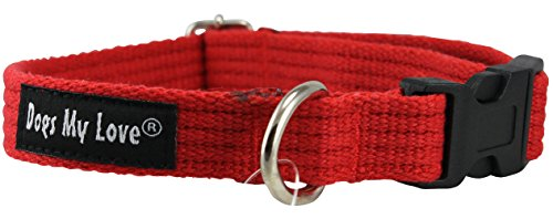 Cotton Web Adjustable Dog Collar 4 Sizes Red (Small: Neck 11.5