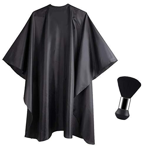 Bata de Peluquería y Cepillo de Mano, Capa Ajustable Profesional del Salon con un Cepillo de Cuello para Barbero Para Salón Profesional y Uso Doméstico