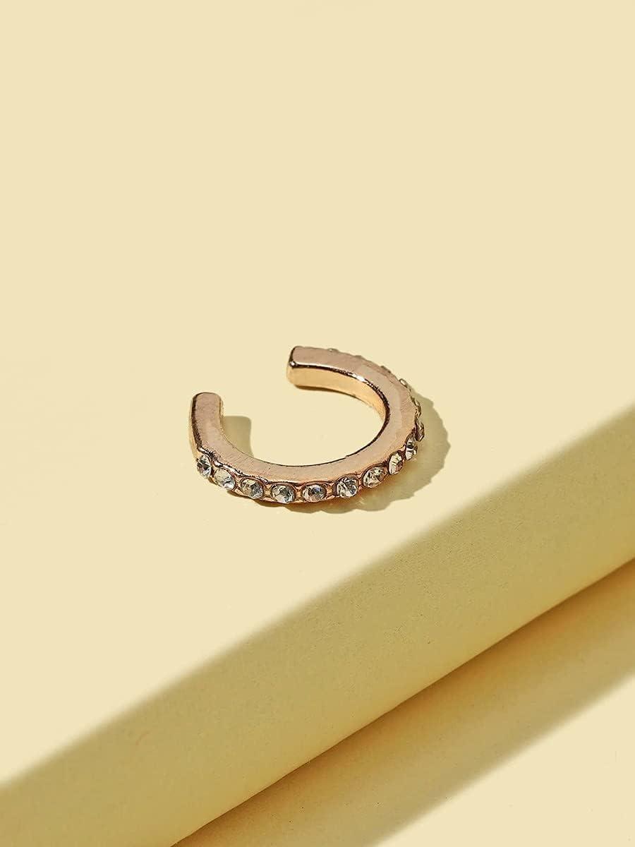 xiangshang shangmao Hoop Earrings 1pc Rhinestone Decor Ear Cuff (Color : Gold)