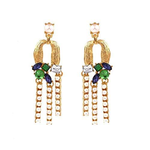 JY Novedad Joyas-Pendientes de mujer Pendientes Pendientes Pendientes de gota Oreja, Cristal con incrustaciones de metal creativo con pendientes de perlas Verde, Borlas ocasionales para