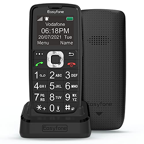 Easyfone Prime-A6 GSM Seniorenhandy ohne Vertrag, Großtasten Mobiltelefon Einfach & Tasten Notruffunktion, Taschenlampe & Ladestation (Schwarz)