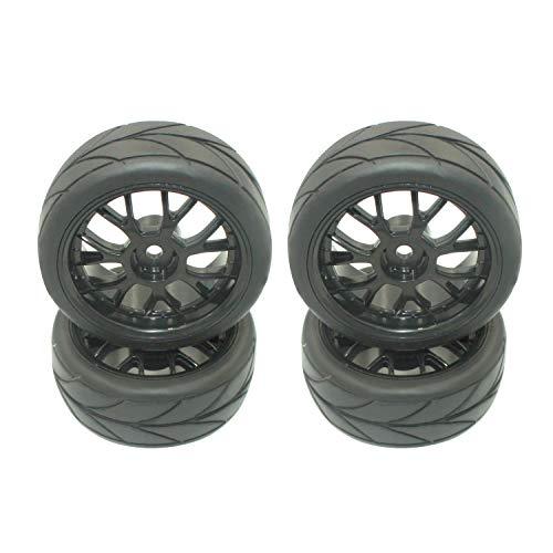 4 pcs 1/10 On-Road RC Car Tires & Wheel Rims Mesh Wheels V Tread Rubber Tires 12 mm Hex Hub