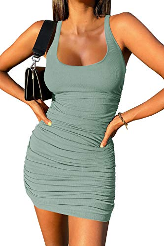 Inorin Womens Scoop Neck Sleeveless Tank Dress Summer Ruched Ribbed Sexy Club Mini Bodycon Dresses Watermelon Red