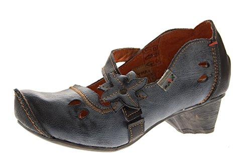 TMA Damen Leder Ballerinas Comfort Pumps echt Leder Schuhe Slipper TMA 8766 Schwarz-Grau Gr. 40