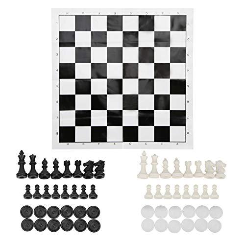 Surebuy Juego de Ajedrez de Viaje, Juego de Mesa úNico 2 en 1, Rompecabezas, FáCil de Cargar, Juego de Ajedrez Y Damas Plegable, Table Checkers Board Game para Adultos Y NiñOs