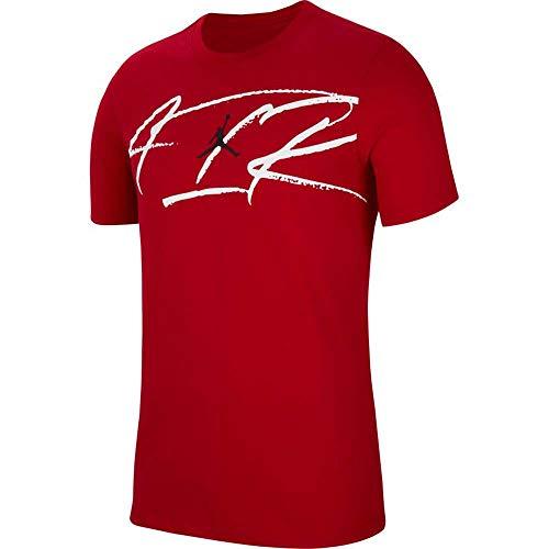 NIKE Camiseta para Hombre J Script Air Dfct Crew, Color Rojo, Blanco y Negro, XXL