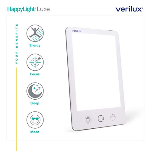 (New) Verilux HappyLight VT43 Luxe 10,000 Lux LED Bright White Light Therapy Lamp with Adjustable Brightness, Color, and Countdown Timer