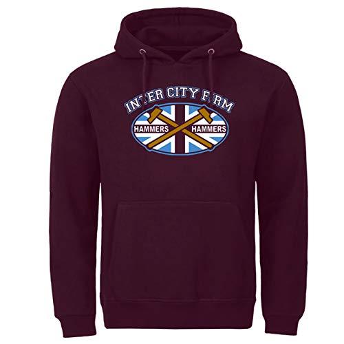 felpa west ham united uomo Tex-Ha Londra Ultra ICF Firm Ultras Hammers Felpa con cappuccio bordeaux S