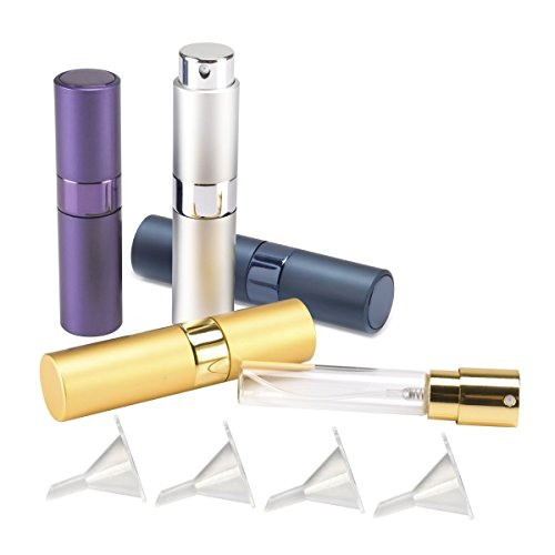 Madholly 4 Pieces 8ml Twist-Up Perfume Spray Bottles, Portable Refillable Perfume Sprayer Atomizer with 4 Funnel Fillers