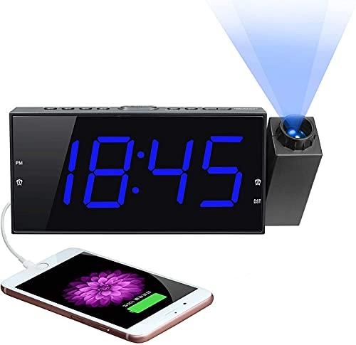 Projection Digital Alarm Clock for Bedroom, Large LED Alarm Clock Projection on Ceiling Wall, 180°Projector,Dimmer,USB Charger,Battery Backup Loud Dual Alarm Clock for Heavy Sleeper Kid Elderly