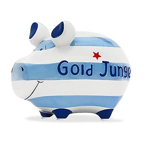 KCG Spardose Schwein Gold Junge Sparschwein Kleinschwein