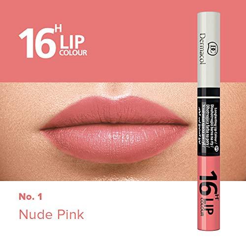 Dermacol 2-in-1 langanhaltende Lippenfarbe & Gloss Kussecht und ohne Lippenstiftflecken - Brillanter Lippenstift mit kräftiger Farbe - Lipstick 16H, Nr. 1 Nude Pink, 7,1 ml