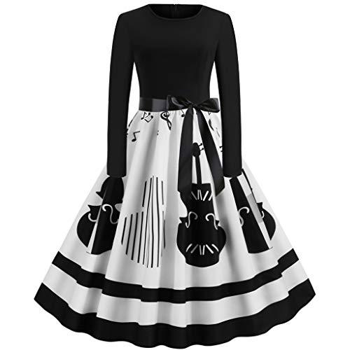 Likecrazy Damen Hepburn Partykleid Halloween Musiknote Print Kleid Elegant Abendkleid Vintage Rundhals mit Bowknot Gürtel Partykleid Abendkleider Rockabilly Kleid Swing Kleid
