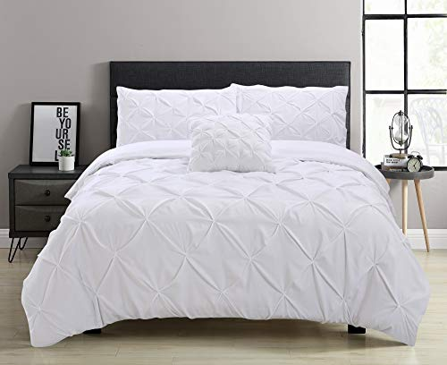 Aaryan Linen Pinch Pleat Pintuck Duvet Cover Set with Zipper Closure includes Pillow Cases and a Complementary Pintuck Cushion Cover - Set of 4 (White, Super King)