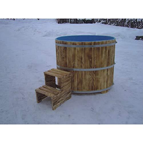 Achleitner Holzwaren Sauna Tauchbecken aus Fichtenholz außen geflammt innen blau beschichtet 670