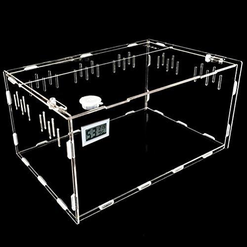 BETAZOOER Reptile Terrarium Aquarium Breeding Tank Acrylic Reptile Feeding Box with Temperature Hygrometer (11''x7.7''x5.9'')
