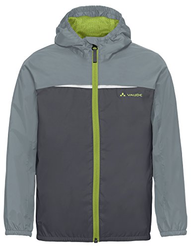 VAUDE Kids Turaco Jacket Veste de pluie légère pour enfant, pour le quotidien, les classes vertes et la randonnée Enfant iron FR: S (Taille Fabricant: 110/116)