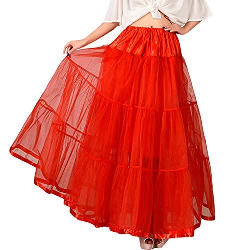 Xmiral Tüllröcke Petticoat Damenrock Knöchel-Länge Tutu Rock Ballet Unterkleid Unterrock(Rot,One Size)