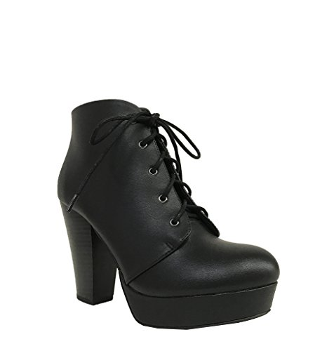 AGENDA! Women's Lace Up Chunky High Heel Platform Booties Ankle Boots, Black Leatherette 7.5 M US