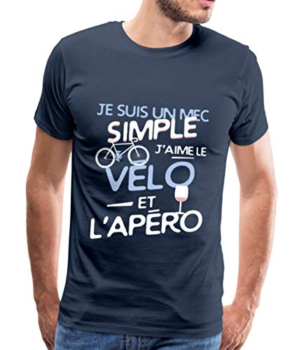 Spreadshirt J'aime Le Vélo Et L'Apéro T-Shirt Premium Homme, M, Bleu Marine