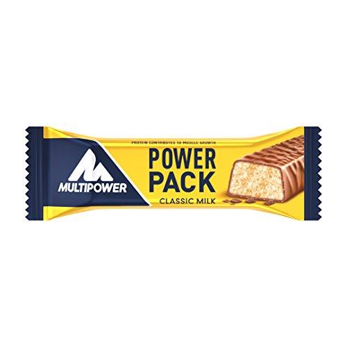 Multipower Power Pack Classic Milk Protein Riegel, Eiweißriegel mit 27% Protein, klassischer Power Bar als gesunder Sport-Snack, mit leckerem Banane-Schokolade-Geschmack, 24 x 35 g