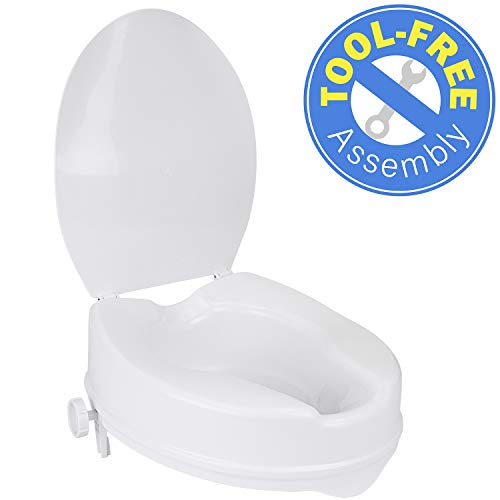 "Vaunn Medical Clamp-On 4"" Height Raised Toilet Seat Riser for Standard Size Round Toilets (16.5'') NOT for Elongated Toilets"