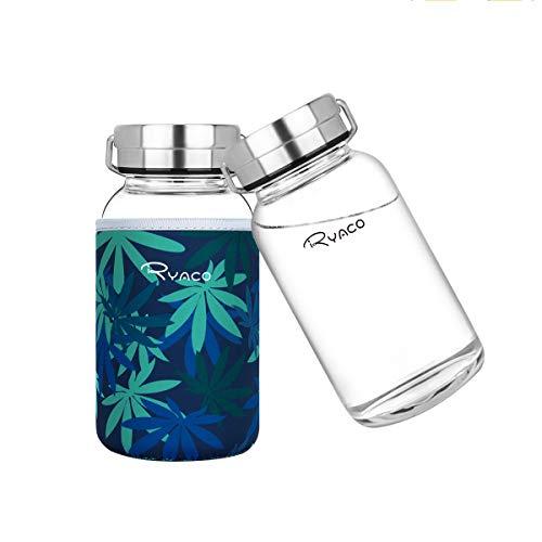 Ryaco Botella de Agua Cristal 800 ML, Boca Ancha Botella de Agua Reutilizable, Sin BPA Antideslizante Protección Neopreno Llevar Manga y Cepillo de Esponja (800ml, Hoja Azul Oscuro)