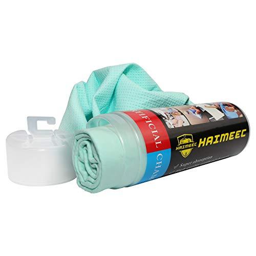 HAIMEEC Reinigungsleder Clean Tools Synthetisches Trockenfensterleder Premium Super Absorber Tuch für Auto - Green Tube 1 Pack (64,8 x 43,2 cm)