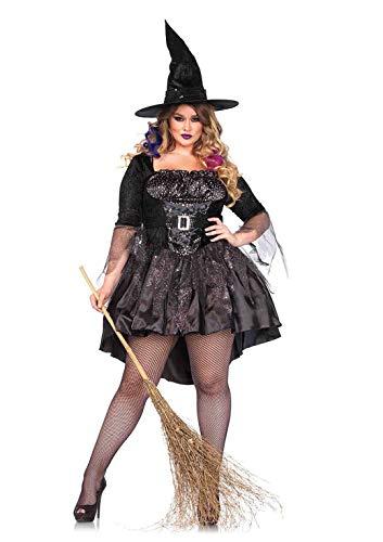 Leg Avenue Women's Plus Size 2 Piece Black Magic Mistress – Sexy High Low Dress With Witch Hat Halloween Costume Set, 3X/ 4X