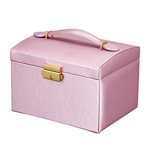 RFVTGB Makeup Case, Lockable Makeup Vanity Cases with Mirror, Drawer Portable Multi-Layer Travel Makeup Box,Pu Leather Jewelry Organiser Girls Makeup Box Purple