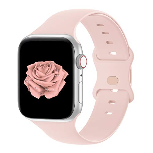watch with pink bands Bandiction Compatible with Apple Watch Series 3 38mm Series 5 40mm iWatch Bands 38mm 40mm, Soft Silicone Sport Replacement Strap Compatible for iWatch SE Series 6 5 4 3 2 1, Sport Edition, 38/40MM