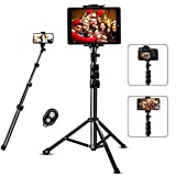 Selfie Stick Tripod, SAVEYOUR 51' Extendable Tripod Stand with Universal Phone/Pad Clip, Remote Shooting Compatible with iPhone & Android Devices, Phone Tripod for Video Shooting, Vlog, Selfie