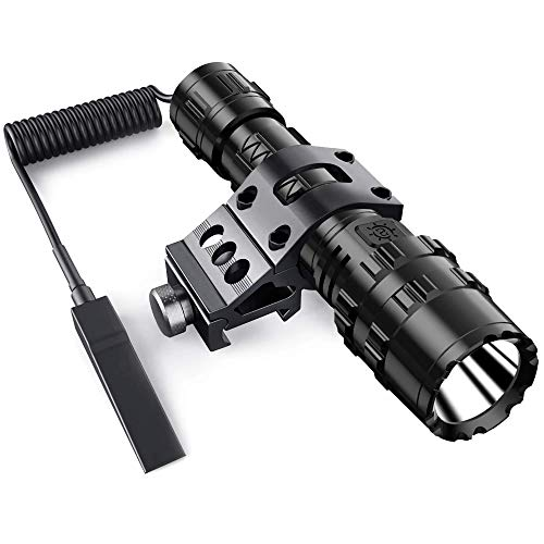 POVAST Tactical Flashlight with Mount, 1200 Lumens LED Hunting Light, Remote Switch Tail, Rechargeable Torch