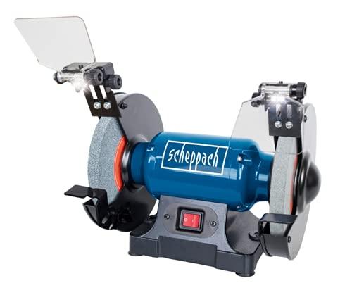 Scheppach 5903109901 Doppelschleifer SM200L, vielseitiges Schleifgerät mit Schlicht und Schruppscheibe, LED-Arbeitsleuchten, Verstellbarer Funkenschutz, 0,5 PS Motor, 500 W, 230 V