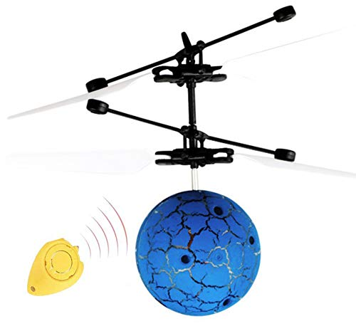 FIVE CENTS Flying Ball, RC Flying Ball Toys for Kids, Infrared Induction Helicopter Drone with Colorful Shinning LED Light and Remote Controller for Indoor and Outdoor Games, Best Gifts (Ball Blue)