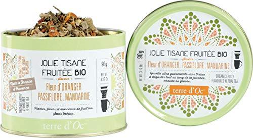 Terre d'Oc - Bio Kräutertee mit Orangenblüte, Passionsblume und Mandarine in dekorativer Metalldose 90 g