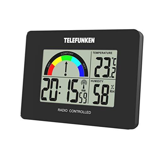 Wecker Funkwecker digital LCD DCF mit Raumklima-Komfort-Anzeige Innentemperatur Luftfeuchte Thermometer Funkuhr Acrylglasblende schwarz TELEFUNKEN FUD-40COM (B)