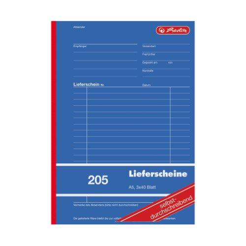 Herlitz 883546 Lieferschein-Buch A5 205 3x40 Blatt, selbstdurchschreibend